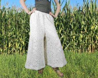 dcde9ebb93 Crochet Lace Wide Leg Palazzo Pants Large Repurposed Boho Cream Pants  emmevielle