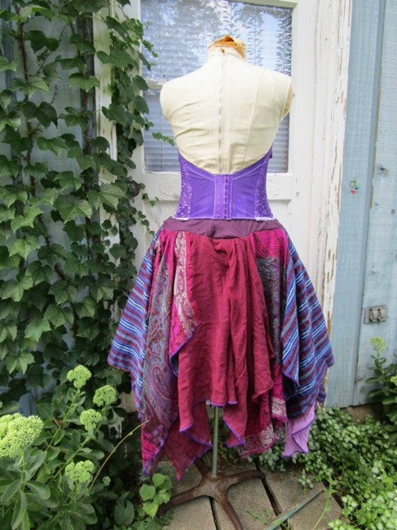 emmevielle Dress Bustier Strapless Bohemian Purple Gypsy Reconstructed S M nwzRq8z1