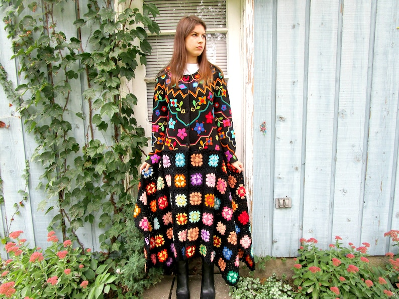 e5c660859ca814 Med. Floral Granny Square Crochet Maxi Sweater Coat