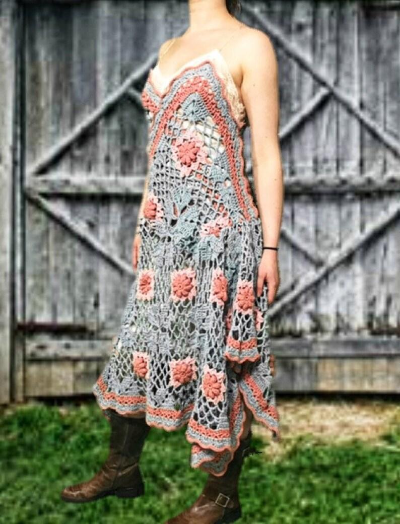 Shabby Chic Floral Crochet Slip Dress Med