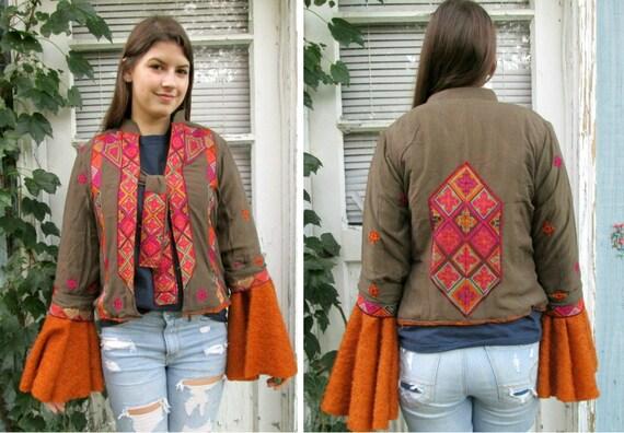 Ooak Embroidered Bell Sleeve Cardigan Sweater Medium Etsy