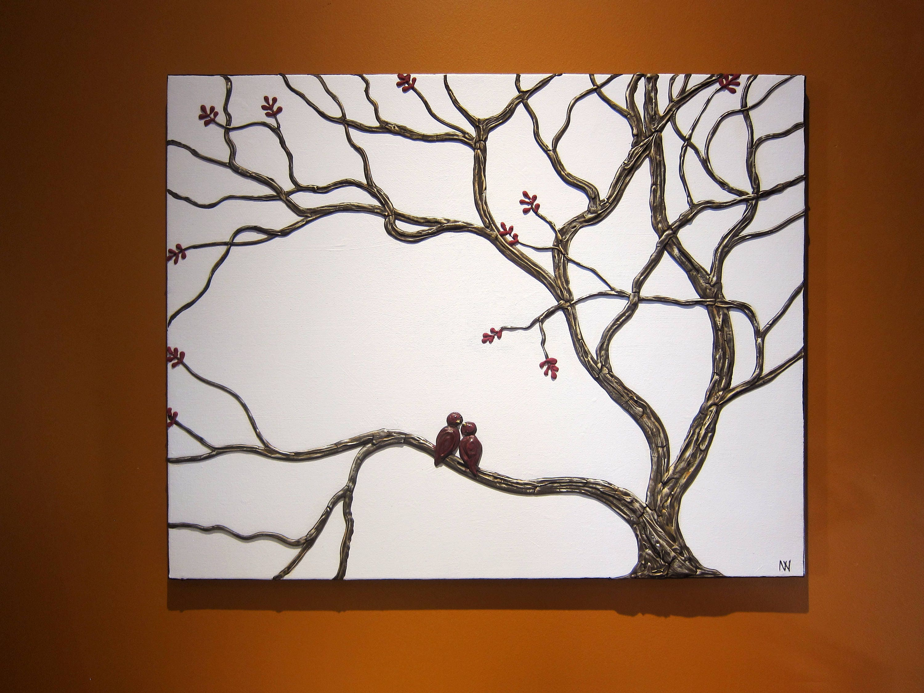 Love Bird Painting Tree Art Impasto Textured Branches Sculpted Wall Art Original Home Decor Unique Oneofakind By Nathalie Van 30x24