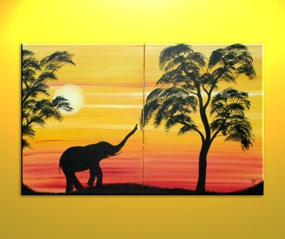 African Elephant Silhouette Painting Sunset Tree Art Original Etsy
