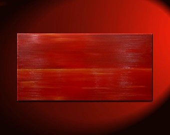 Custom Red Abstract Seascape Art Large Ocean Painting Calm Seas Passionate Bold Crimson Wide Layout 48x24