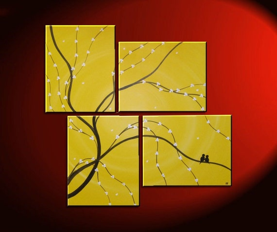 Original Painting Love Bird Wall Art Sunny Yellow Cherry Tree | Etsy