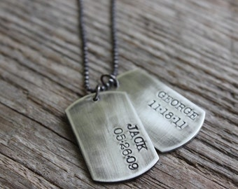 Dog Tag Necklace - Handmade Sterling Silver Dog Tags Necklace - Custom and Personalized Just for You - Small Dog Tags