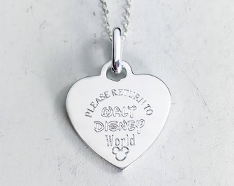 DELUXE Please Return To - Sterling Silver - Disney World - Disneyland Necklace