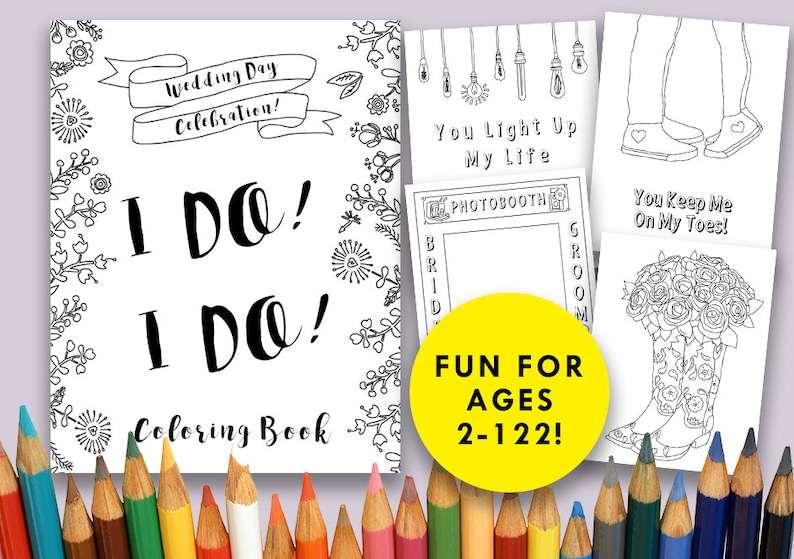 - Wedding Day Coloring Book Printable Digital Download Wedding Etsy