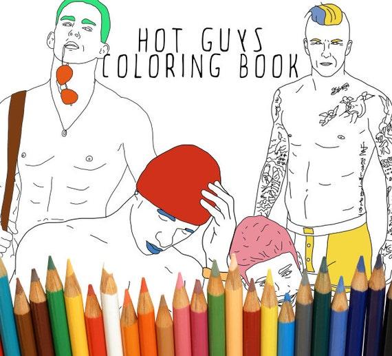Hot Guys Adult Coloring Book Digital Download Bachelorette Etsy
