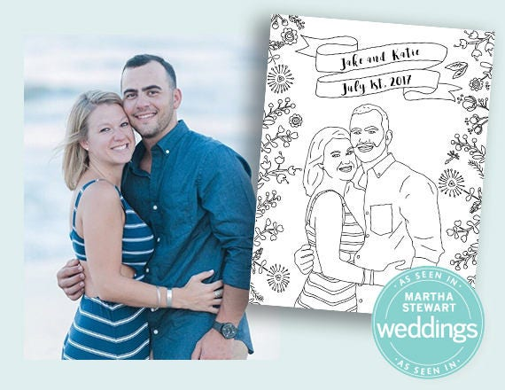 Custom Wedding Coloring Book Pages Adult Coloring Book | Etsy
