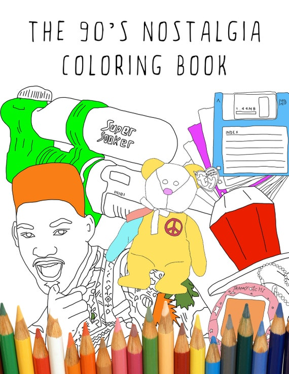 90 S Nostalgia Printable Adult Coloring Book Digital Etsy