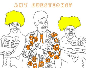 David S. Pumpkins Adult Coloring Page, Halloween Coloring Book, Digital Download Printable Coloring Page, SNL, Saturday Night Live