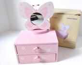 Girls Jewelry Chest, Mele pink wood box, Butterfly mirror top, floral two drawer, dresser trinket box, jewelry box, glitter keepsake box,