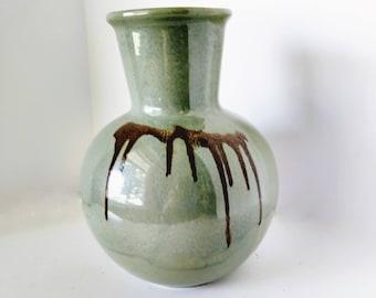 Blue Mountain Pottery Celedon Glaze Vase Conemporary Decor, 1980s Drip Glaze, Fine art pottery Red Clay Vase BMP Canadian Pottery wide mouth