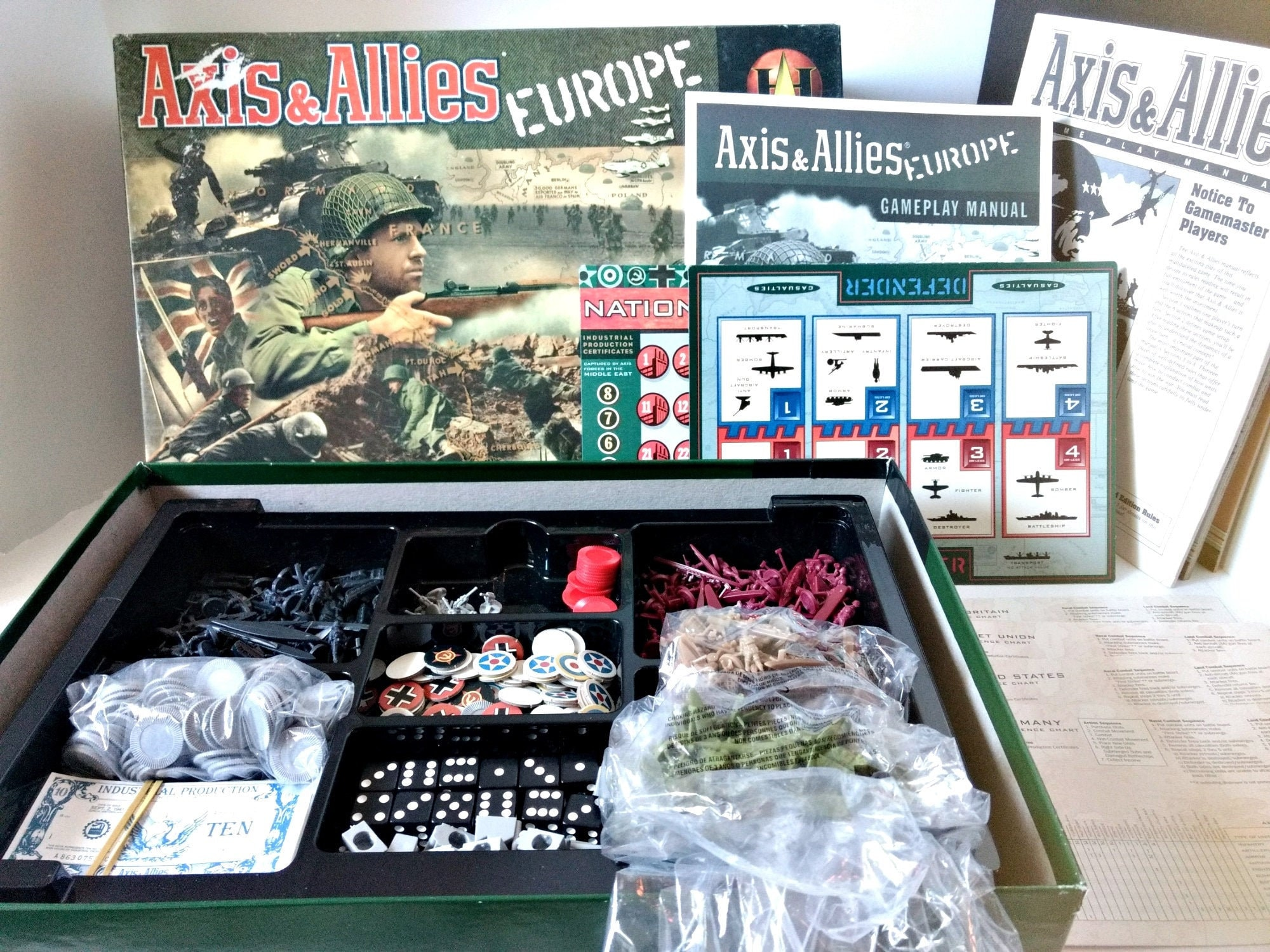 Axis and Allies Europe Ww 11 Board Game Military Strategy 1999 Avallon Hill  Complete w Rule Booklet, game board map, historically accurate