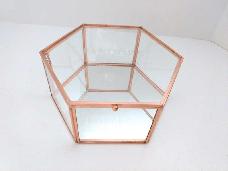 e536c0813068e Pandora Jewelry Box, Copper and Glass Case, mirror bottom, see through  dresser box bracelets, necklaces, rings mothers day gift box