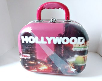 RESERVED Hard Shell Suitcase, Hollywood Glamour Overnight Train Case Jet Set Travel Case, Glitter Train Case, makeup mirror case, Weekend