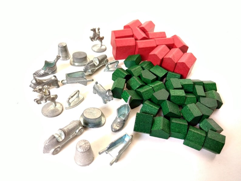 Monopoly Wood Game Pewter Tokens Pieces Houses And Hotels Red Green Boot Thimble Iron Car Wheelbarrow Horse And Rider Scottie