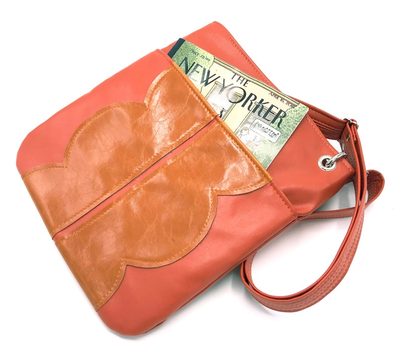 e78154535675 Vegan Leather Tote Bag Coral Orange Large Cross Body Bag