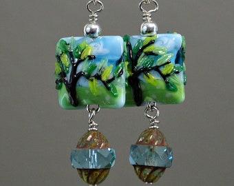 Tree of Life Venetian Glass Lampworked Artisan Bead Dangle Earrings
