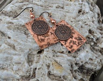Patina Dangle Earrings,Handmade in VT Primitive Copper Earrings,Handcut copper VT jewelry Boho Jewelry Niobium Wires Torch Fired Copper
