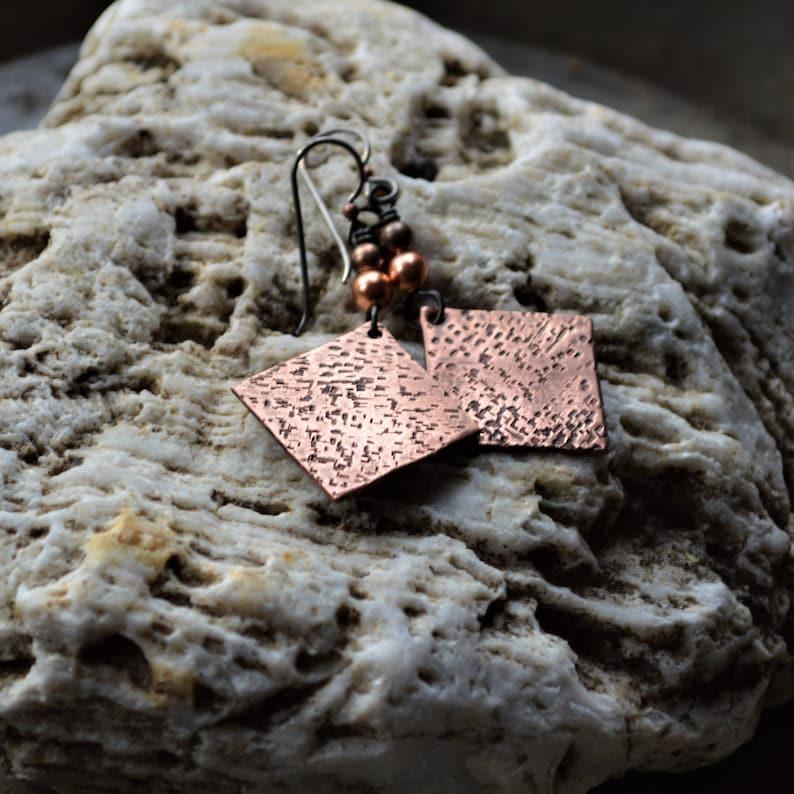 Handmade in VT Rustic Copper earrings Boho earrings Primitive boho Hammered earrings Made in Vermont Matrix jewelry Hammered copper