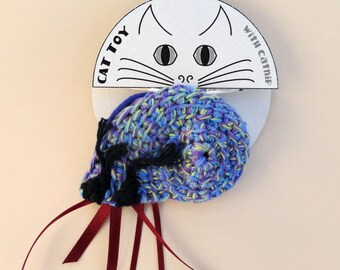 Periwinkle Cat Toy Crinkle Catnip Crochet Hermit Crab seashell custom fill with POTENT catnip (catmint) or lavender sachet purple blue