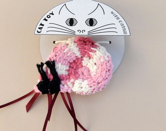 Cat Toy Crinkle Catnip Crochet Hermit Crab with pink seashell custom fill with POTENT catnip (catmint) or lavender sachet mauve beige