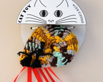 Cat Toy Crinkle Catnip Crochet Hermit Crab yellow brown aqua Turbo seashell custom fill w/ POTENT catnip (catmint) or lavender sachet snail