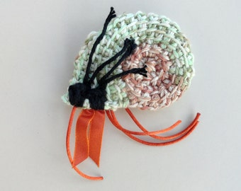 Cat Toy Crinkle Catnip Crochet Hermit Crab mint green tan seashell custom fill with POTENT catnip (catmint) or lavender sachet