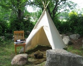 Canvas Teepee, Play Tent, Tipi, Large and Durable, Choose from Many Different Colors, Custom Order