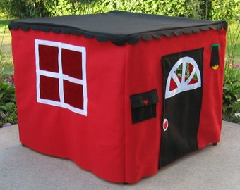 Red Basic Card Table Playhouse, Teepee, Play Tent, Fabric Playhouse, Kids Tent, Childrens Tent, Custom Order Indoor Playhouse