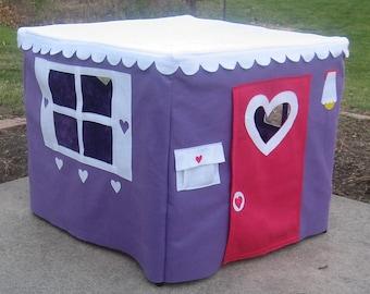 Card Table Playhouse, Tablecloth Playhouse, Kids Tent, Fabric Playhouse for Table, Medium Purple Color, Custom Order