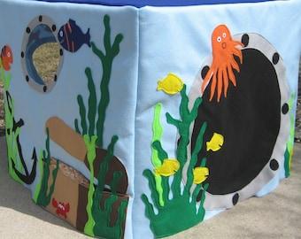 Ocean Card Table Playhouse, Play Tent, Kids Teepee, Indoor Playhouse, Toddler Playhouse, Felt Playhouse, Kids Gift, Custom Order