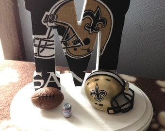 315d339c5 Wedding Cake Topper New Orleans Saints Bridal Football Themed Initial of  the Last Name