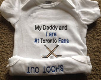 137baf555 Toronto Maple Leafs Fan Hockey Team Baby Onesie Creeper Personalized  Embroidered