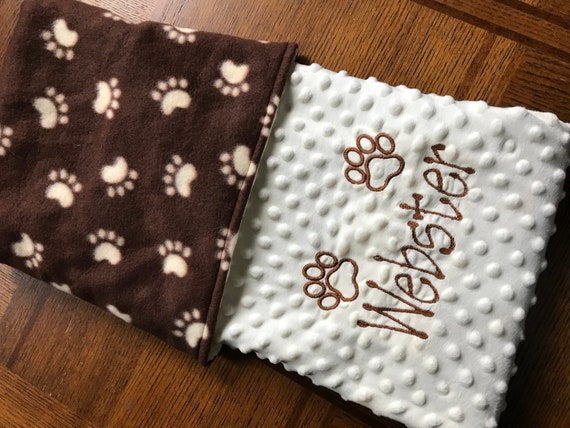 Double MINKY Personalized Embroidered Blanket Baby to Adult Sizes CUSTOM MADE Animal Paws Ivory Beige Cappuccino Gray Puppy Dog Cat Pet