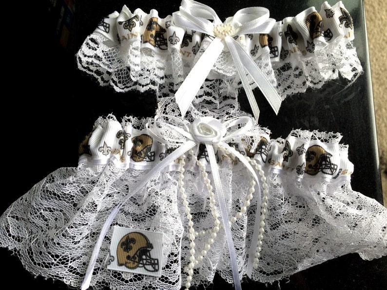 New Orleans Saints Football Wedding Bridal Lace trim Garters Set RegularPlus Size
