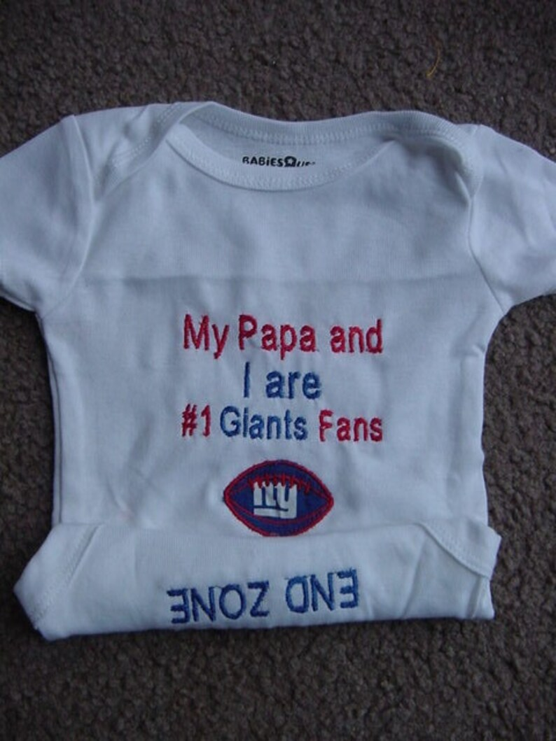 6a5739ac3 New York Giants fan Football Baby Onesie Creeper Embroidered | Etsy