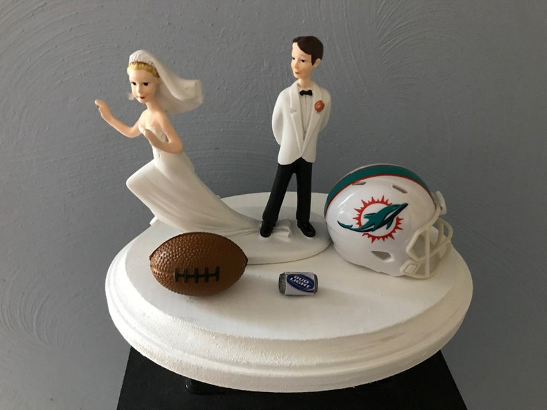 Enjoyable Wedding Cake Topper Bridal Miami Dolphins Funny Football Nfl Etsy Personalised Birthday Cards Paralily Jamesorg