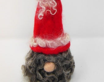 Made to order  custom Curly Snow a needle felted gnome , Christmas felted gnome