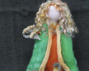 Needle Felted Art Doll, Wool Felted Autumn Sculpture, Needle Felted Home Decor