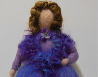 Needle Felted Victorian Art Doll, Stand Alone Waldorf style Doll, Victorian Fairy-Angel.