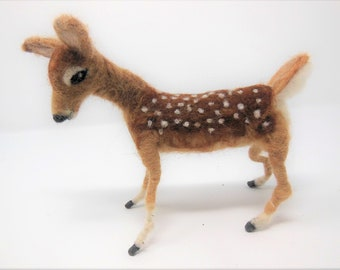 Custom Order Needle Felted Deer, White Tail Fawn, Soft Wool nedle felted Animal Sculpture