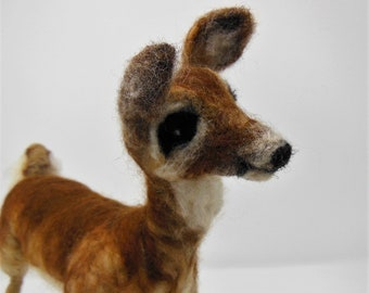 Custom Made To Order Needle Felted Deer, Needle Felted Animal Sculpture, White Tailed Deer