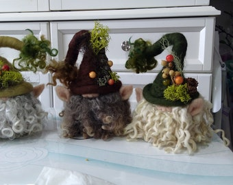 Custom made Needle felted gnomes, Spring, Summer, Fall, Winter and Holiday  fantasy wool sculptures