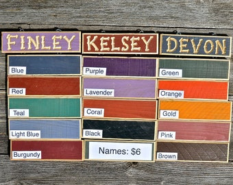 GRANDKIDS NAMES GRANDPARENTS Carved Personalized WoodName  sign… add-ons to hang underneath Gr/Gr sign 6 dollars each