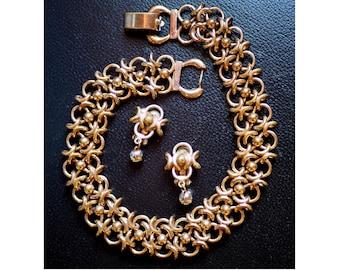Vintage Bergere Demi Parure - Choker Necklace and Earrings Set - Woven Goldtone Florentine Links