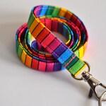 Rainbow Fabric Lanyard for ID badge, keys