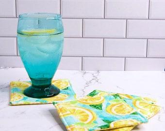 Coasters, Mug Rugs, Set of 4 fabric coasters in Lemonade Fabric